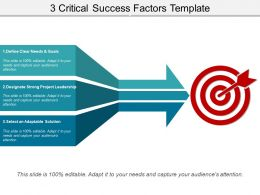 3 Critical Success Factors Template Powerpoint Slides