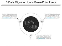 3 Data Migration Icons Powerpoint Ideas