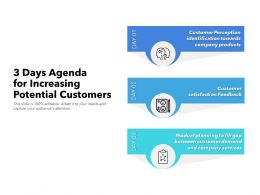 3 Days Agenda For Increasing Potential Customers