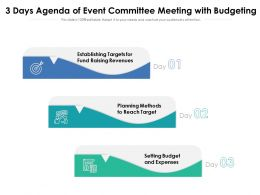 3 Days Agenda Of Event Committee Meeting With Budgeting