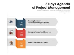 3 Days Agenda Of Project Management