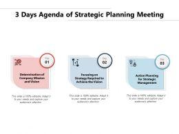 3 Days Agenda Of Strategic Planning Meeting