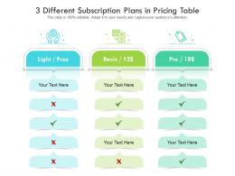 3 Different Subscription Plans In Pricing Table Infographic Template