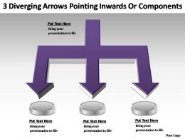 3 diverging arrows pointing inwards powerpoint templates