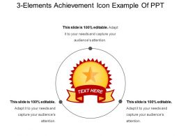 3 Elements Achievement Icon Example Of Ppt
