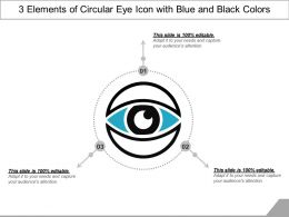3 Elements Of Circular Eye Icon With Blue And Black Colors