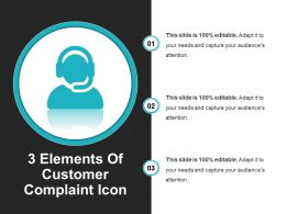 3 Elements Of Customer Complaint Icon Example Of Ppt