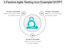 3 Factors Agile Testing Icon Example Of Ppt