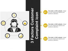3 Factors Customer Complaint Icon Sample Of PPT