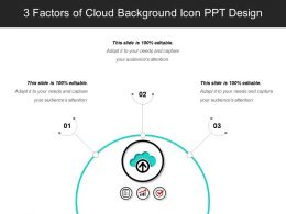 3 Factors Of Cloud Background Icon Ppt Design