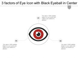 3 Factors Of Eye Icon With Black Eyeball In Center