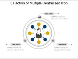 3 Factors Of Multiple Centralized Icon Powerpoint Slide Deck
