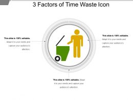 3 Factors Of Time Waste Icon Powerpoint Guide