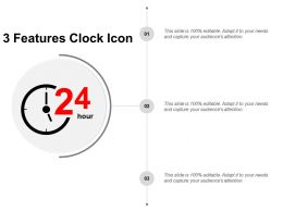 3 Features Clock Icon PowerPoint Slide