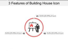 3 Features Of Building House Icon Powerpoint Show