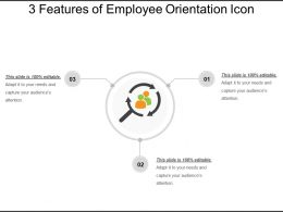 3 Features Of Employee Orientation Icon Ppt Images