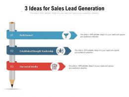 3 Ideas For Sales Lead Generation