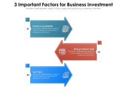 3 Important Factors For Business Investment