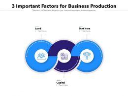 3 Important Factors For Business Production