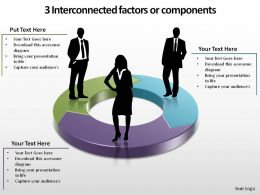 3 interconnected factors circular process with silhouettes or components ppt slides templates powerpoint info graphics
