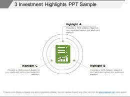 3 Investment Highlights Ppt Sample
