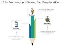 3 Key Point Infographic Showing Pencil Target And Idea Bulb