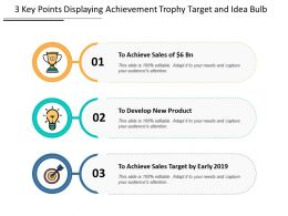 3 Key Points Displaying Achievement Trophy Target And Idea Bulb