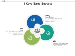 3 Keys Sales Success Ppt Powerpoint Presentation Pictures Inspiration Cpb