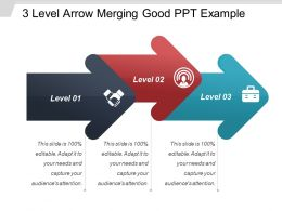 3 Level Arrow Merging Good Ppt Example