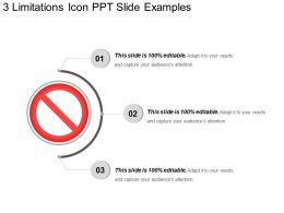 3 Limitations Icon Ppt Slide Examples
