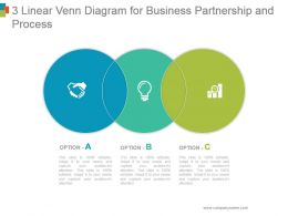 3 Linear Venn Diagram For Business Partnership And Process Sample Of Ppt