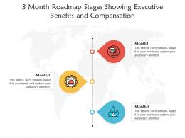 3 Month Roadmap Stages Showing Executive Benefits And Compensation Infographic Template
