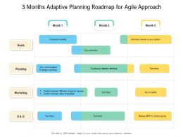 3 Months Adaptive Planning Roadmap For Agile Approach