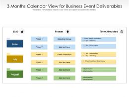3 Months Calendar View For Business Event Deliverables