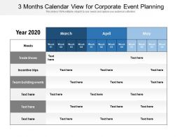 3 Months Calendar View For Corporate Event Planning