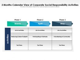 3 Months Calendar View Of Corporate Social Responsibility Activities