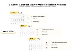 3 Months Calendar View Of Market Research Activities