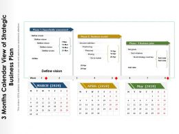 3 Months Calendar View Of Strategic Business Plan