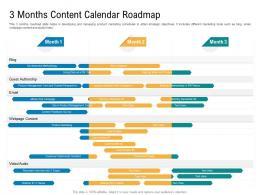 3 Months Content Calendar Roadmap Timeline Powerpoint Template