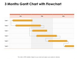 3 Months Gantt Chart With Flowchart Ppt Powerpoint Presentation Infographic