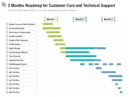 3 Months Roadmap For Customer Care And Technical Support