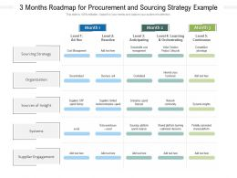 3 Months Roadmap For Procurement And Sourcing Strategy Example
