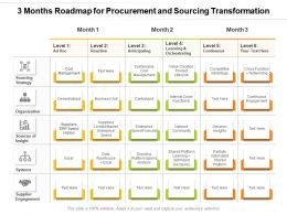 3 Months Roadmap For Procurement And Sourcing Transformation