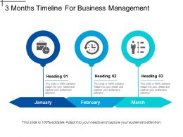 3 Months Timeline For Business Management Slide01