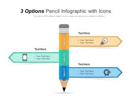 3 Options Pencil Infographic With Icons