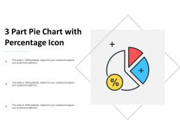 3 Part Pie Chart With Percentage Icon
