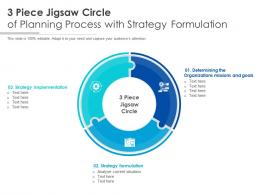 3 Piece Jigsaw Circle Of Planning Process With Strategy Formulation