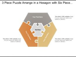 3 Piece Puzzle Arrange In A Hexagon With Six Pieces Around A Centre One