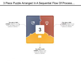 3 Piece Puzzle Arranged In A Sequential Flow Of Process With Icon