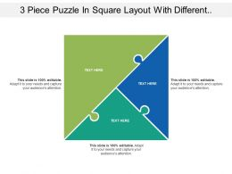 3 Piece Puzzle In Square Layout With Different Seven Section